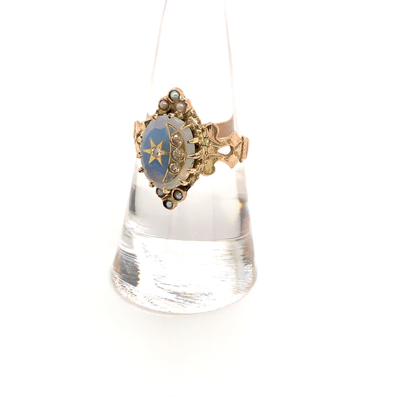 Sustainable Jewelry Vintage Victorian Gold Ring Embossed Glass Moon Star Diamonds Pearls