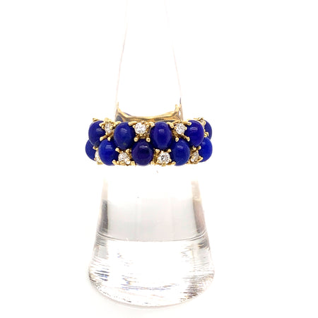 Sustainable Jewelry Vintage Ring Eternity Band 18K Yellow Gold Oval Cabochon Lapis Lazuli Diamonds One-Of-A-Kind