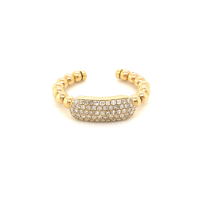 Sustainable Jewelry Vintage Ring One-Of-A-kind 14K Yellow Gold Cluster of 59 Diamonds Beaded Shoulder Design. 14K Gold Diamond Ring