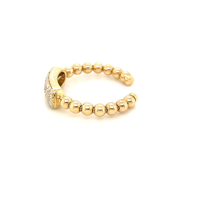 Sustainable Jewelry Vintage Ring One-Of-A-kind 14K Yellow Gold Cluster of 59 Diamonds Beaded Shoulder Design