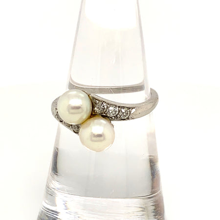 Vintage Cartier Platinum Diamond Pearl Ring Sustainable