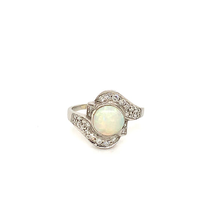 Platinum Opal Diamond Vintage Ring Sustainable Jewelry Curated Collection