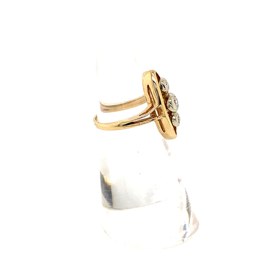 NAVETTE 14K YELLOW GOLD DIAMOND RING