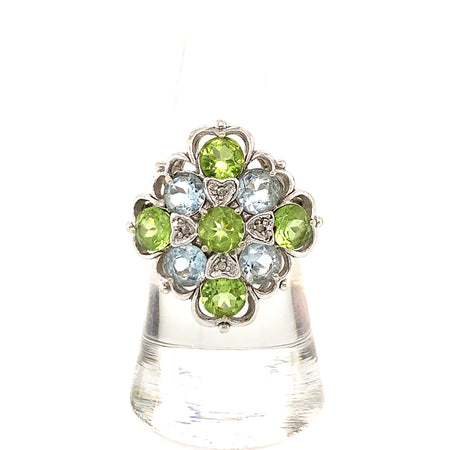 White Gold Diamond Peridot Aquamarine Cocktail Vintage Ring Size 7.25 Fine Jewelry Estate Jewelry Sustainable Jewelry
