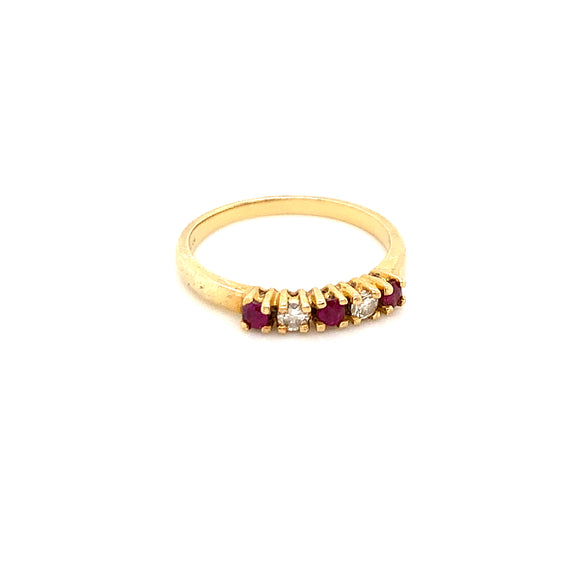 RED-EYE 14K YELLOW GOLD, RUBY, AND DIAMOND RING