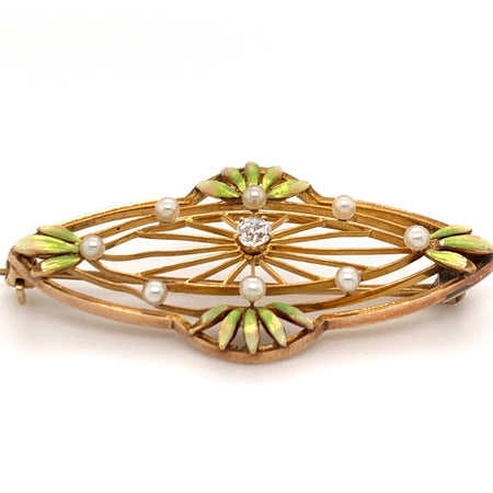 Art Nouveau Krementz 14K Yellow Gold Diamond and Seed Pearl Enameled Brooch Vintage Magnality Sustainable Fine Jewelry