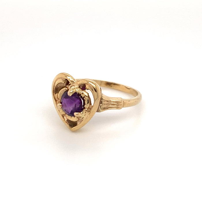 Vintage Amethyst 14K Yellow Gold Ring Ethical Sustainable Fine Jewelry Vintage Magnality