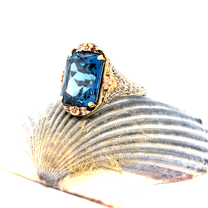 Vintage 1930's Lab-Grown Spinel 14K White Gold Ring with Rose and Yellow Gold Accents  Ethical Sustainable Fine Jewelry Vintage Magnality
