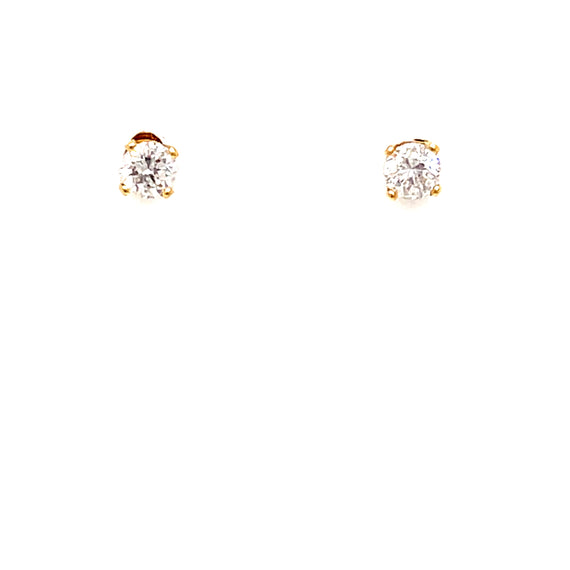 Vintage .31 CTW Round Diamond Stud 14K Yellow Gold Earrings Ethical Sustainable Fine Jewelry Vintage Magnality