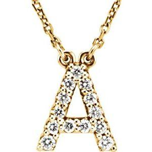 "14K Yellow Gold Diamond A Initial 16"" Necklace Ethical Sustainable Fine Jewelry Storyteller by Vintage Magnality"