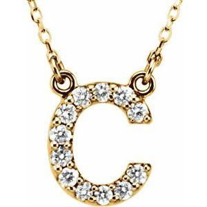 "14K Yellow Gold Diamond C Initial 16"" Necklace Ethical Sustainable Fine Jewelry Storyteller by Vintage Magnality"