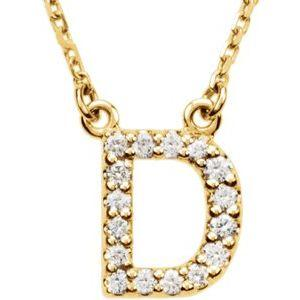 "14K Yellow Gold Diamond D Initial 16"" Necklace Ethical Sustainable Fine Jewelry Storyteller by Vintage Magnality"