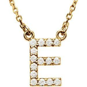 "14K Yellow Gold Diamond E Initial 16"" Necklace Ethical Sustainable Fine Jewelry Storyteller by Vintage Magnality"