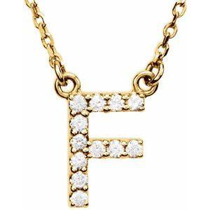 14K Yellow Gold Diamond F Initial 16