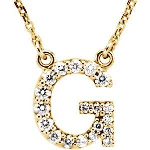 "14K Yellow Gold Diamond G Initial 16"" Necklace Ethical Sustainable Fine Jewelry Storyteller by Vintage Magnality"