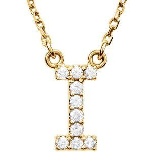 14K Yellow Gold Diamond I Initial 16