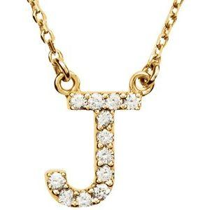 "14K Yellow Gold Diamond J Initial 16"" Necklace Ethical Sustainable Fine Jewelry Storyteller by Vintage Magnality"