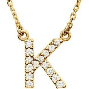 "14K Yellow Gold Diamond K Initial 16"" Necklace Ethical Sustainable Fine Jewelry Storyteller by Vintage Magnality"