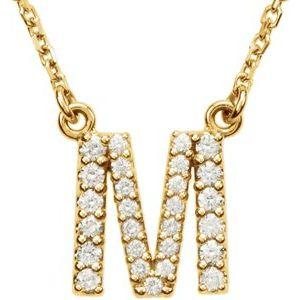 "14K Yellow Gold Diamond M Initial 16"" Necklace Ethical Sustainable Fine Jewelry Storyteller by Vintage Magnality"