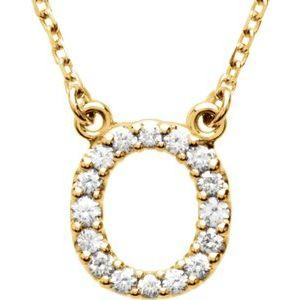 14K Yellow Gold Diamond O Initial 16