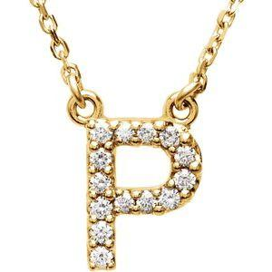 "14K Yellow Gold Diamond P Initial 16"" Necklace Ethical Sustainable Fine Jewelry Storyteller by Vintage Magnality"