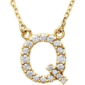 14K Yellow Gold Diamond Q Initial 16
