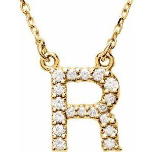 "14K Yellow Gold Diamond R Initial 16"" Necklace Ethical Sustainable Fine Jewelry Storyteller by Vintage Magnality"