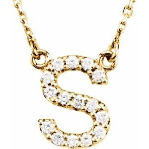 14K Yellow Gold Diamond S Initial 16