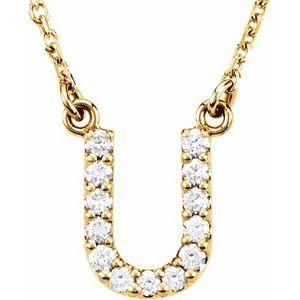 14K Yellow Gold Diamond U Initial 16