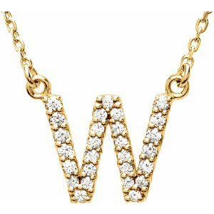 14K Yellow Gold Diamond W Initial 16