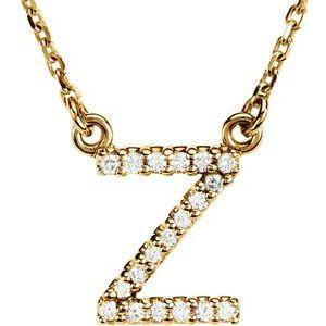 "14K Yellow Gold Diamond Z Initial 16"" Necklace Ethical Sustainable Fine Jewelry Storyteller by Vintage Magnality"