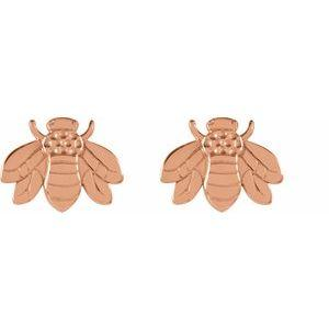 14K Rose Gold Bumblebee Earrings Studs Ethical Sustainable Jewelry