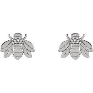 14K White Gold Bumblebee Earrings Studs Ethical Sustainable Jewelry