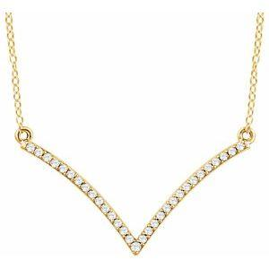 "1/6 CTW Diamond ""V"" 18"" Necklace 14K Yellow Gold Ethical Sustainable Fine Jewelry Storyteller by Vintage Magnality"