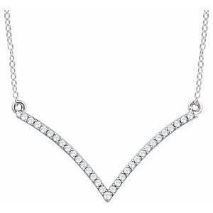 "1/6 CTW Diamond ""V"" 18"" Necklace 14K White Gold Ethical Sustainable Fine Jewelry Storyteller by Vintage Magnality"