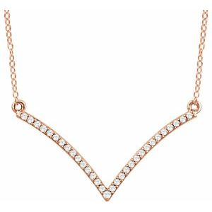 "1/6 CTW Diamond ""V"" 18"" Necklace 14K Rose Gold Ethical Sustainable Fine Jewelry Storyteller by Vintage Magnality"