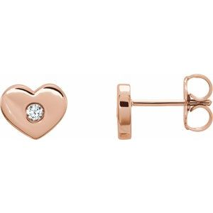 .06 CTW Diamond Heart Earrings 14K Rose Gold Ethical Sustainable Fine Jewelry Storyteller by Vintage Magnality