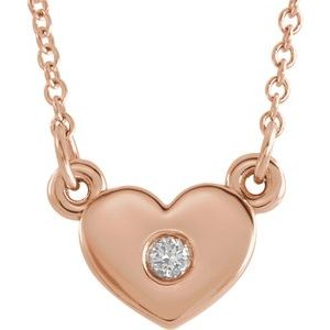 ".03 CTW Diamond Heart 16"" Necklace 14K Rose Gold Ethical Sustainable Fine Jewelry Storyteller by Vintage Magnality"