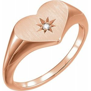 .01 CT Diamond 11.9 MM Heart Starburst Ring 14K Rose Gold Ethical Sustainable Fine Jewelry Storyteller by Vintage Magnality
