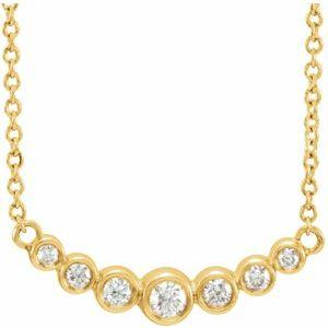 "1/5 CTW Diamond 7 Stone Graduated Bezel-Set 16-18"" Necklace 14K Yellow Gold Ethical Sustainable Fine Jewelry Storyteller by Vintage Magnality"