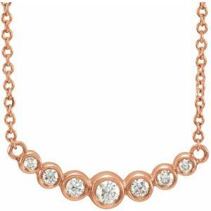 "1/5 CTW Diamond 7 Stone Graduated Bezel-Set 16-18"" Necklace 14K Rose Gold Ethical Sustainable Fine Jewelry Storyteller by Vintage Magnality"
