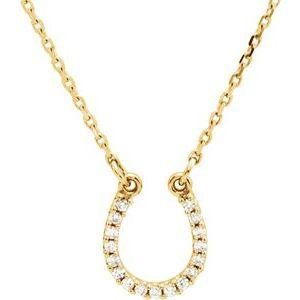 "14K Yellow Gold  .07 CTW Diamond Horseshoe 16"" Necklace  Ethical Sustainable Jewelry Storyteller by Vintage Magnality"