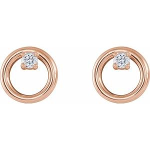 .06 CTW Diamond Circle Stud Earrings 14K Rose Gold Ethical Sustainable Fine Jewelry Storyteller by Vintage Magnality