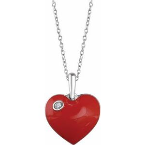 ".02 CT Diamond Red Enamel Heart 18"" Necklace Sterling Silver Ethical Sustainable Fine Jewelry Storyteller by Vintage Magnality"