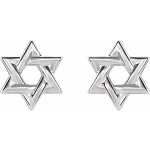Star of David Earrings 14K White Gold Ethical Sustainable Fine Jewelry Storyteller by Vintage Magnality