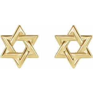 Star of David Earrings 14K Yellow Gold Ethical Sustainable Fine Jewelry Storyteller by Vintage Magnality