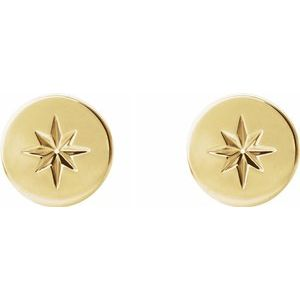 7.8mm Starburst Stud Earrings 14K Yellow Gold Ethical Sustainable Fine Jewelry Storyteller by Vintage Magnality