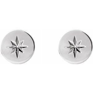 7.8mm Starburst Stud Earrings 14K White Gold Ethical Sustainable Fine Jewelry Storyteller by Vintage Magnality