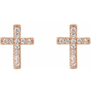 .05 CTW Diamond Cross Stud Earrings 14K Rose Gold Ethical Sustainable Fine Jewelry Storyteller by Vintage Magnality