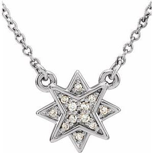 ".04 CTW Diamond Star 16-18"" Necklace 14K White Gold Ethical Sustainable Fine Jewelry Storyteller by Vintage Magnality"